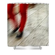 Red Hot Walking Shower Curtain