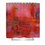 Red Hot Watercolor Shower Curtain