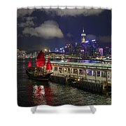 Red Jewel Of The Night Shower Curtain