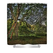 Red Ladder And Oak Shower Curtain