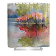 Red Lake Reflection #2 Shower Curtain