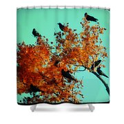 Red Leaves Among The Ravens Shower Curtain
