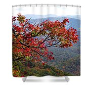 Red Leaves In The Blueridge Shower Curtain