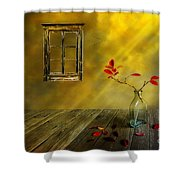 Red Leaves Shower Curtain by Veikko Suikkanen