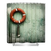 Red Life Saver Rescue Floatation Shower Curtain