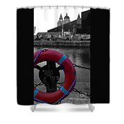 Red Lifebelt At Albert Dock 2 Shower Curtain