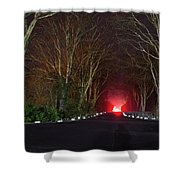 Red Light, Smoke And Flames Glowing Shower Curtain