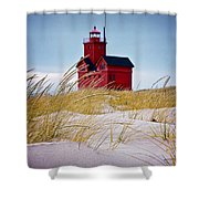 Red Lighthouse By Holland Michigan Known As Big Red Shower Curtain