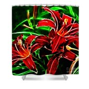 Red Lilies Expressive Brushstrokes Shower Curtain