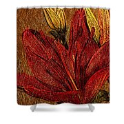 Red Lily Gold Leaf Shower Curtain