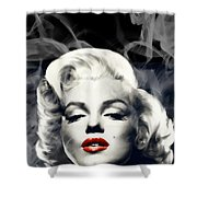 Red Lips Marilyn In Smoke Shower Curtain