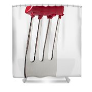 Red Lipstick On Fork Shower Curtain