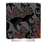 Red Meets Black Shower Curtain