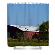 Red Metal Barn Shower Curtain