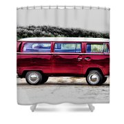 Red Microbus Shower Curtain