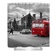 Red Midland Bus And Sheep - 1960's    Ref-126 Shower Curtain