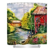 Red Mill At Waupaca Shower Curtain