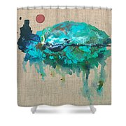 Red Moon Over Santa Fe Shower Curtain