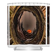 Red Moon Rising - Abstract - Triptych Shower Curtain