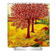 Red Oaks  Pop Art Shower Curtain