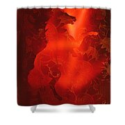 Red On Red Horse Shower Curtain