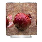 Red Onions On Barnboard Shower Curtain