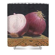Red Onions On Chess Box Shower Curtain
