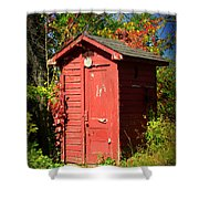 Red Outhouse Shower Curtain