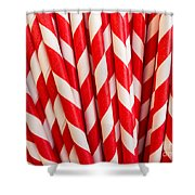 Red Paper Straws Shower Curtain