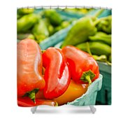 Red Peppers On Display Shower Curtain