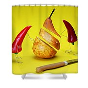 Red Peppers Sliced A Pear Shower Curtain