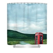 Red Phone Box On Rural Road Shower Curtain