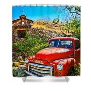Red Pickup Truck At Santa Fe Shower Curtain