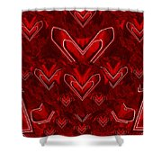 Red Pop Art Hearts Shower Curtain