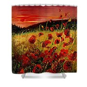 Red Poppies And Sunset Shower Curtain