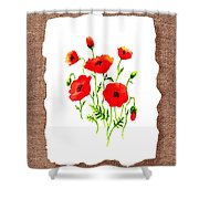 Red Poppies Decorative Collage Shower Curtain