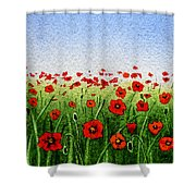 Red Poppies Green Field And A Blue Blue Sky Shower Curtain
