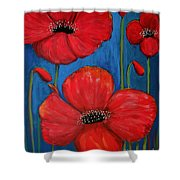 Red Poppies On Blue Shower Curtain