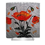 Red Poppies Original Palette Knife Shower Curtain