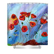 Red Poppy With Dragonfly Shower Curtain