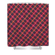 Red Purple And Green Diagonal Plaid Textile Background Shower Curtain