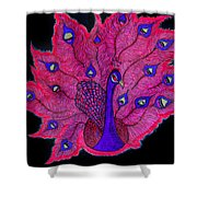 Red - Purple Peacock Shower Curtain
