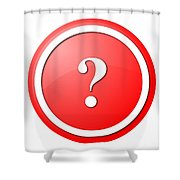 Red Question Mark Round Button Shower Curtain
