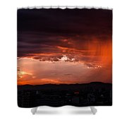 Red Rain Over Tana Shower Curtain