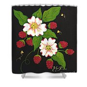 Red Raspberries And Dogwood Flowers Shower Curtain