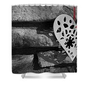 Red Ribbon Heart Shower Curtain