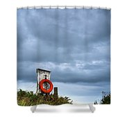 Red Ring Life Preserver Hanging Shower Curtain
