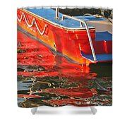 Red Rippling Shower Curtain