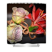 Purple Roses And Red Lily Shower Curtain