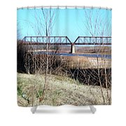 Red River I 35 Train Trussell Shower Curtain